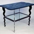 """""""Blue Table"""", 24"""" X 36"""" X 24"""" tall, mild steel and 2 layers of ¼"""" plate glass slumped with blue frit, 1998 ■"""
