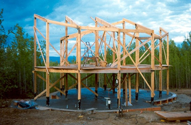 None of these houses utilized exterior plywood sheathing for shear strength. Instead appropriate internal walls were plywood sheathed and secured to structure to provide sheer. ■