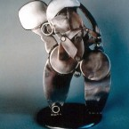 """Matt one"", articulated, 30 inches tall by 16 inches diameter, welded steel, 1995"