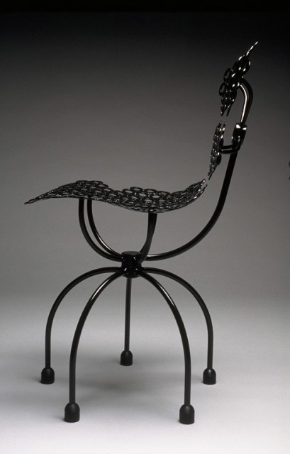 """""""Washer Chair"""", 34 inches tall by 18 inches in diameter, welded steel structural washers and round bar, powder coated, 1994 ■"""