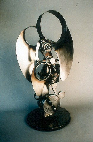"""Matt two"", articulated,  30 inches tall by 16 inches in diameter, welded steel, 1996"