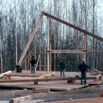 "The timber frames were on 8' centers and of  6"" local white spruce. The structural beam/column joints were further stressed by the green timbers curing over time and I opted for bolted steel joinery when ever possible. This helped avoid stressing the slow growing but not particularly fine grained local spruce. ■"