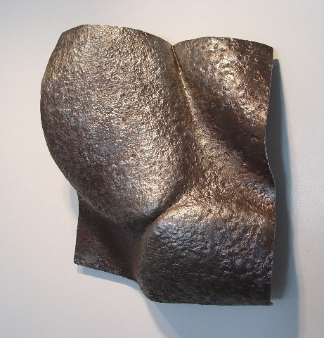 """Tortured"", 19 X 21 x 6.5"", ""Artifact Steel"", 2006  ■  (Cheryl Hughes commentary continues) ""Tortured"" is also as inviting as it is repellent. It singes me and dares me to look away. Like some burned tormented skin, a piece of discarded flesh; and as it cooled, petals curved and kissed across a crease before falling into dust. ■"
